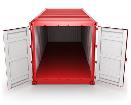 apriva: Aperto il contenitore rosso merci isolato su sfondo bianco, vista frontale Archivio Fotografico