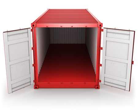 Opened red freight container isolated on white background, front view
