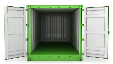 Opened green freight container isolated on white background, front view Stock Photo