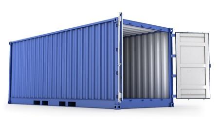 seafreight: Abri� el contenedor azul aislada sobre fondo blanco