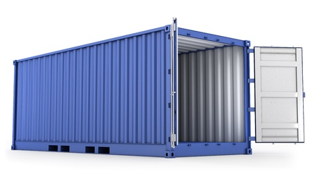 apriva: Aperto il contenitore blu merci isolato su sfondo bianco Archivio Fotografico