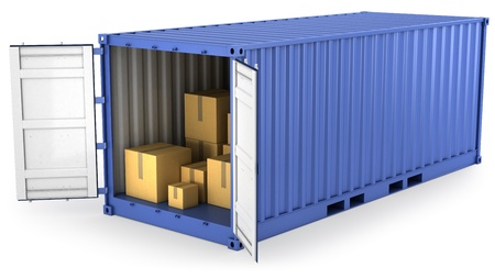 shipping containers: Blue opened container with carton boxes inside, isolated on white background