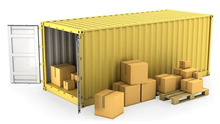 merchandise: Yellow opened container with a lot of carton boxes, isolated on white background Stock Photo