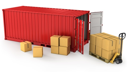 shipping containers: Red opened container and many of carton boxes on a pallet, isolated on white background Stock Photo