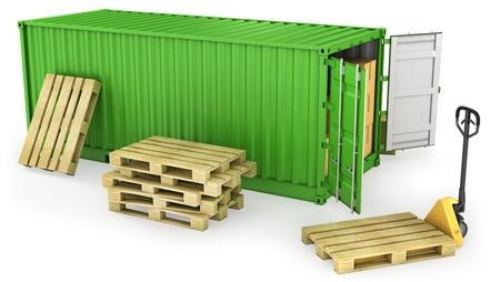 seafreight: Green abri� el contenedor y la pila de paletas de madera, aislados en fondo blanco Foto de archivo