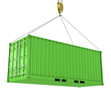 Green freight container hoisted, isolated on white background photo