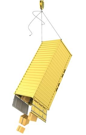 seafreight: Contenedor amarillo caer despu�s de separar accidentalmente ganchos aisladas sobre fondo blanco
