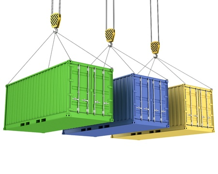 Three freight containers are being hoisted, isolated on white background Stock Photo