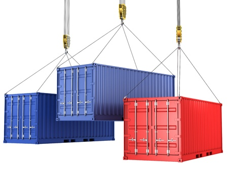 airborne vehicle: Three freight containers are being hoisted, isolated on white background Stock Photo