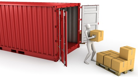 Worker unloads container, isolated on white background