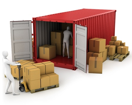 shipped: Two workers unload container, isolated on white background