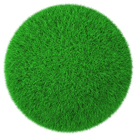 Ball made of green grass isolated on white background photo