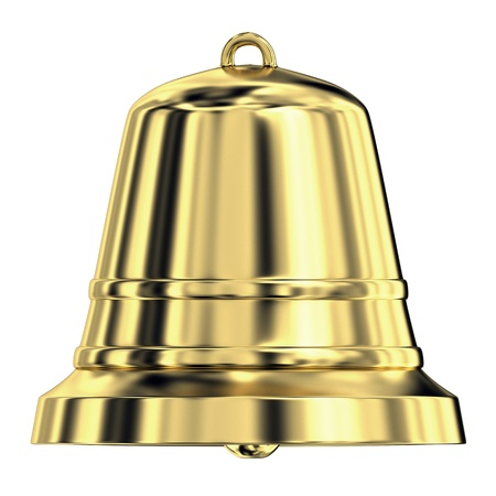 Shiny golden bell isolated on white background,frontal view Stock Photo - 10076064