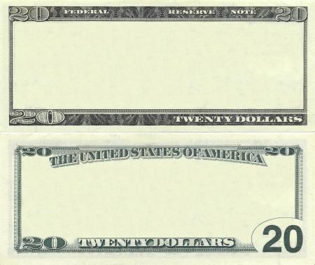 valuta: Átlátszó, 20 dolláros bankjegy minta tervezési célokra