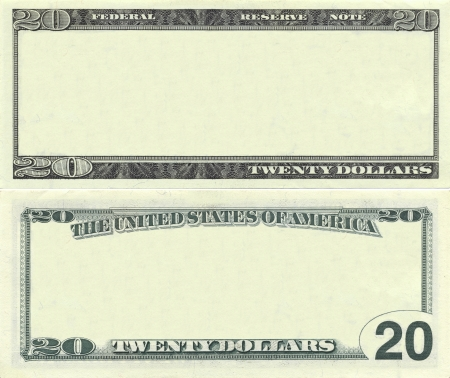 Clear 20 dollar banknote pattern for design purposes Stock Photo