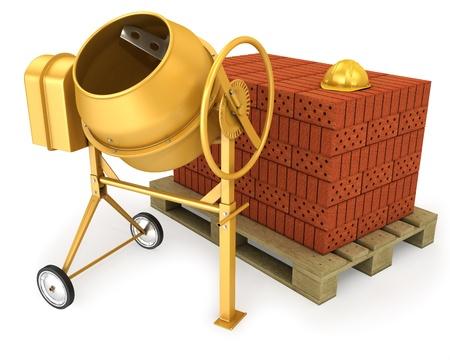 Čistý nový žlutý míchačka na beton s přilbou a hromadou cihel, izolovaných na bílém pozadí Reklamní fotografie - 10083982