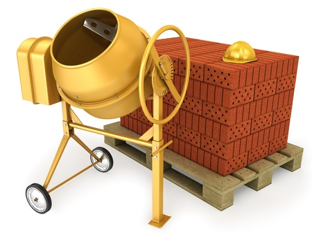 Clean new yellow concrete mixer with helmet and stack of bricks, isolated on white background photo
