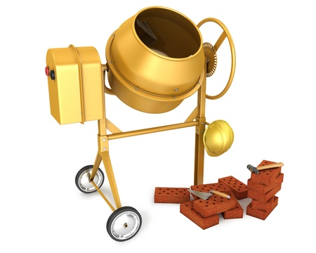 Clean new yellow concrete mixer with helmet, trowel and few bricks, isolated on white background Stock Photo - 10083981