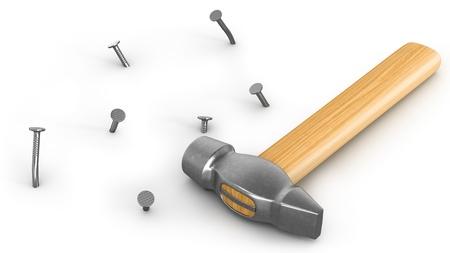 the hammer: Martillo con unos clavos martillados y espaciador aisladas sobre fondo blanco Foto de archivo