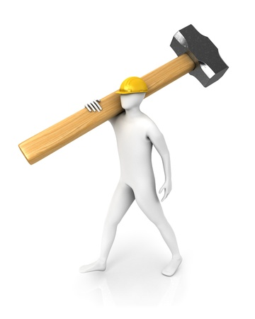 Man with huge sledgehammer isolated on white background photo