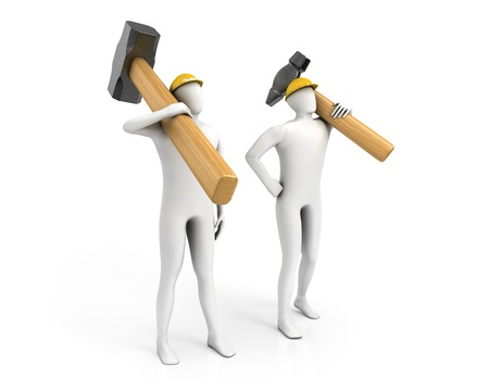 Two men with huge sledgehammer and hammer isolated on white background photo