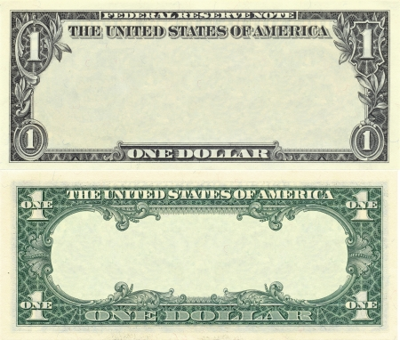 dollaro: Modello di banconota chiaro 1 dollaro per scopi di progettazione Archivio Fotografico