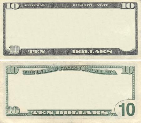 dollaro: Cancella 10 modello banconota da un dollaro per la progettazione Archivio Fotografico