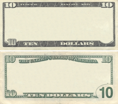 Clear 10 dollar banknote pattern for design purposes Stock Photo