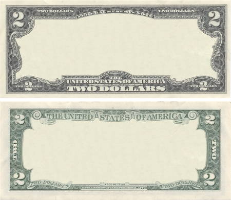 Clear 2 dollar banknote pattern for design purposes Stock Photo