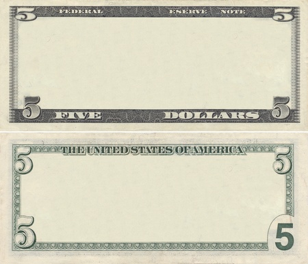 us dollar bill: Clear 5 dollar banknote pattern for design purposes Stock Photo