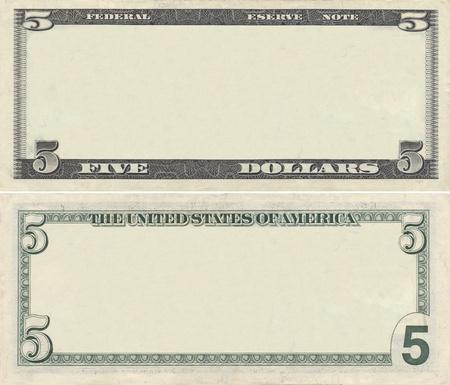 valuta: Tiszta 5 dolláros bankjegy mintát tervezési célokra