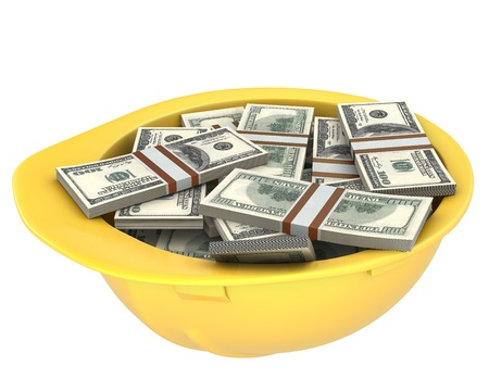 Yellow helmet full of dollars isolated on white background Stock Photo - 10800931