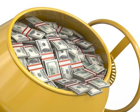 profitability: Concrete mixer full of dollars isolated on white background, closeup