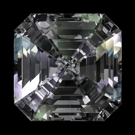 Asscher Cut Diamond isolated on black background Stock Photo - 10945377