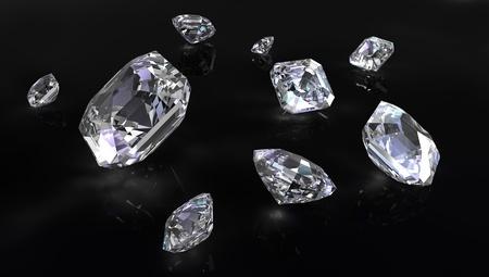 black diamond: Pocos asscher corta diamantes sobre fondo negro Foto de archivo