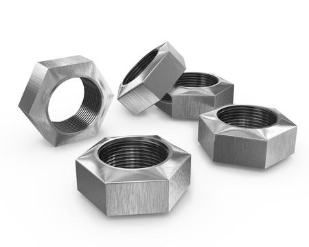 Few female screws isolated on white background photo
