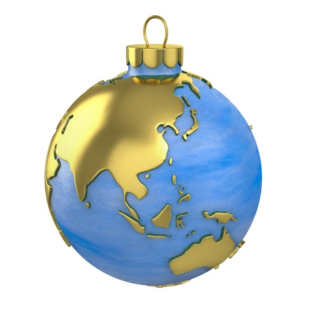 Christmas ball shaped as globe or planet isolated on white background, Asia part photo