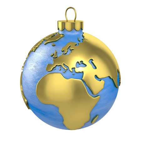 Christmas ball shaped as globe or planet isolated on white background, Europe part Stock Photo