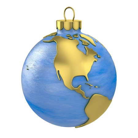 Christmas ball shaped as globe or planet isolated on white background, North America part