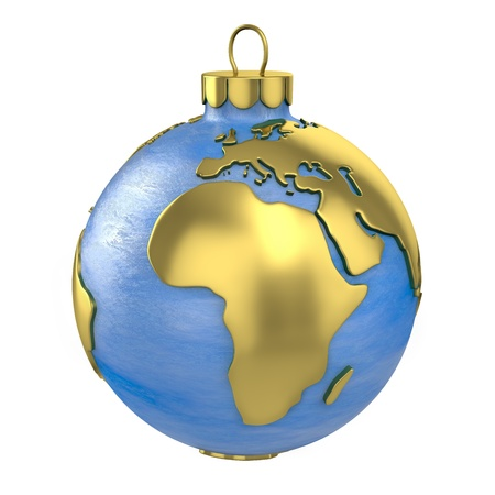 rsa: Christmas ball shaped as globe or planet isolated on white background, Africa part Stock Photo