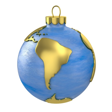 Christmas ball shaped as globe or planet isolated on white background, South America  part
