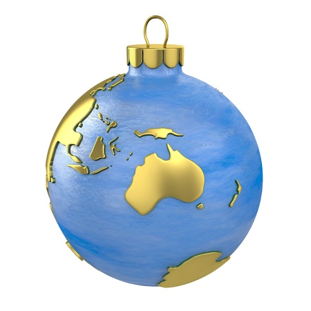 Christmas ball shaped as globe or planet isolated on white background, Australia part photo