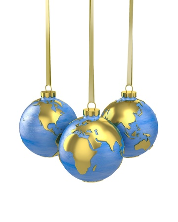 Three christmas balls shaped as globe or planet isolated on white background, Asia, Europe and America