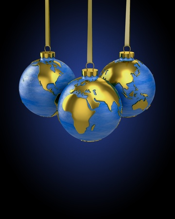 modern christmas baubles: Three christmas balls shaped as globe or planet, Asia, Europe and America Stock Photo