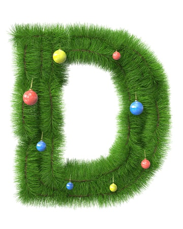 D letter made of christmas tree branches isolated on white background photo