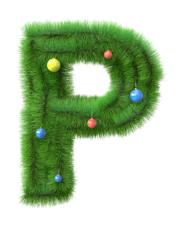 P letter made of christmas tree branches isolated on white background photo
