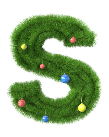 S letter made of christmas tree branches isolated on white background photo