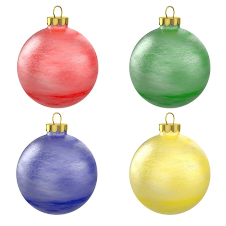 lightweight ornaments: Four christmas balls isolated on white background Stock Photo