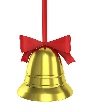 Christmas bell with red ribbon isolated on white background photo