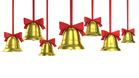 A lot of Christmas bells with red ribbons isolated on white background  photo
